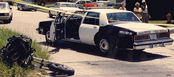 End of a 1991 pursuit involving Tom Vallely and a stolen motorycle.
